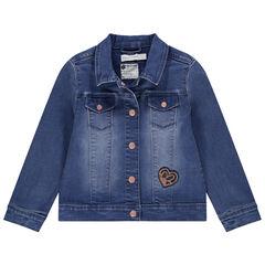 Veste en jean effet used à poche et coeur en sequins