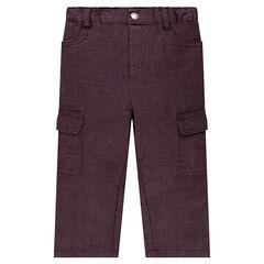 Pantalon en coton fantaisie avec poches à rabat