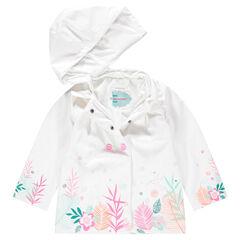 Coupe-vent en gomme avec capuche amovible et print floral