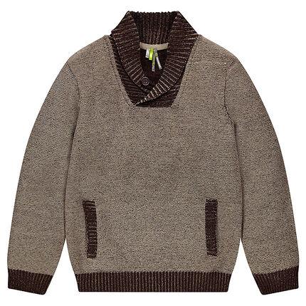 Junior - Pull en tricot avec col châle