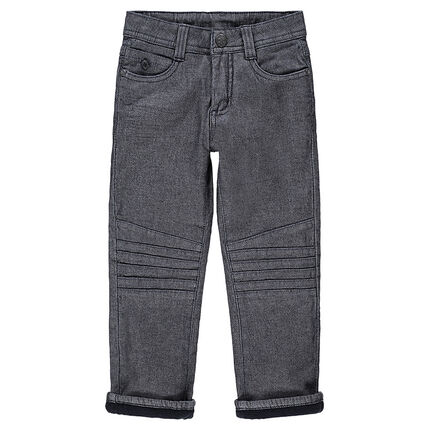 Pantalon chiné doublé polaire avec surpiqûres sur les jambes