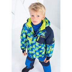 Blouson de ski bicolore avec poches zippées et bandes printées
