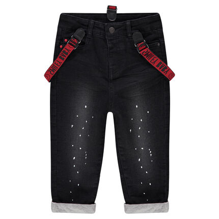 Jeans effet used doublé jersey avec taches de peinture et bretelles amovibles ©Smiley