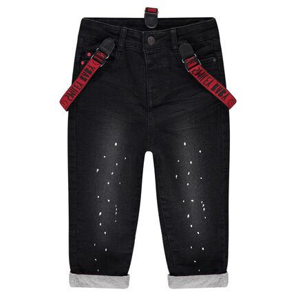 jeans effet used doubl jersey avec taches de peinture et bretelles amovibles smiley orchestra fr. Black Bedroom Furniture Sets. Home Design Ideas