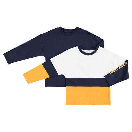Lot de 2 tee-shirts manches longues assortis uni / à bandes contrastées