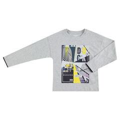 Junior - Tee-shirt manches longues en jersey avec motif coloré printé