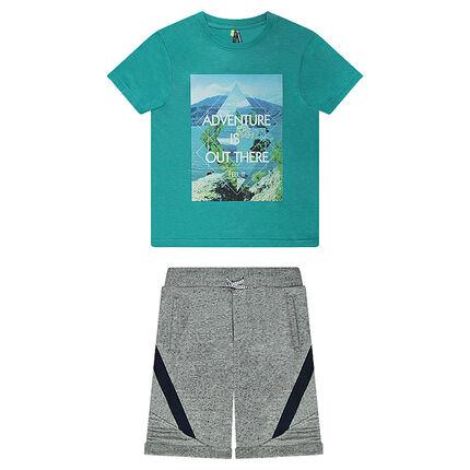 Junior - Ensemble avec tee-shirt en jersey printé et bermuda en molleton twisté