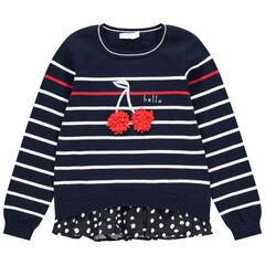 Pull en tricot effet 2 en 1 à rayures et cerises  en relief