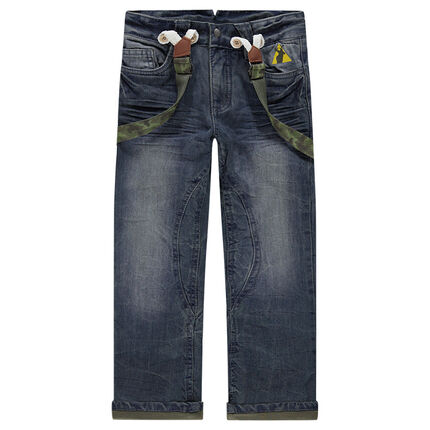 Jeans effet used et crinkle avec bretelles amovibles army
