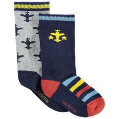 Lot de 2 paires de chaussettes à avions en jacquard