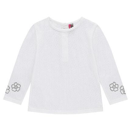 Tee-shirt manches longues en jersey effet dévoré avec fleurs printées
