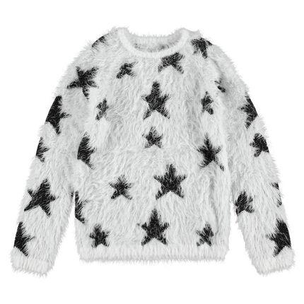 Junior - Pull en tricot poil avec étoiles contrastées all-over
