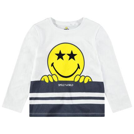 Tee-shirt manches longues en jersey avec print Smiley
