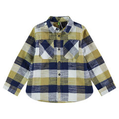 Chemise manches longues à carreaux contrastés avec poches