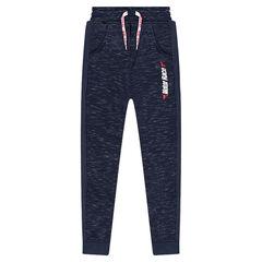 Junior - Pantalon de jogging en molleton twisté avec zips et inscription printée
