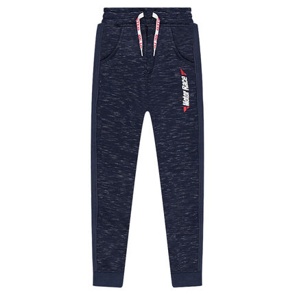 Junior - Pantalon de jogging en molleton twisté avec zips et inscription printée