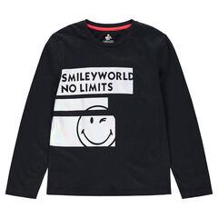 Junior - Tee-shirt manches longues en jersey avec bandes et ©Smiley printés