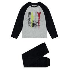 Junior - Pyjama en velours bicolore avec print effet spray