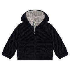 Veste en tricot à capuche doublée sherpa