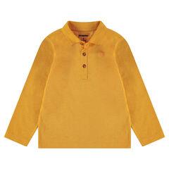 Polo manches longues en jersey slub avec logo printé