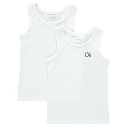 Junior - Lot de 2 débardeurs en coton (maillots de corps) print logo