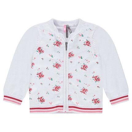 Gilet en tricot fin avec fleurs contrastées en jacquard