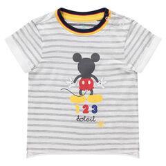 Tee-shirt manches courtes rayé print Mickey ©Disney