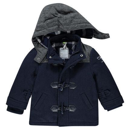 Duffle coat doublé flanelle à capuche amovible et print tête de buffle