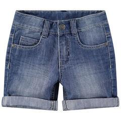 Bermuda en jeans effet used et crinkle