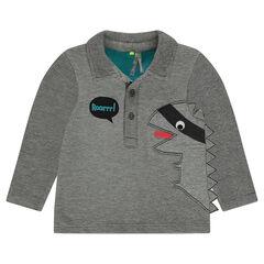 Polo en jersey ottoman avec animal patché et crête en relief
