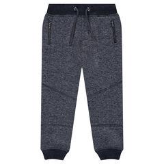 Pantalon de jogging en molleton chiné avec poches zippées