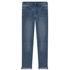 Junior - Jeans coupe slim effet used et crinkle