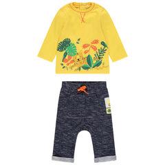 Ensemble t-shirt imprimé jungle et pantalon chiné à poche