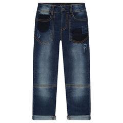 Jeans droit effet used avec surpiqûres contrastées