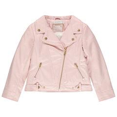 Perfecto  en simili cuir rose doublé sherpa à poches zippées