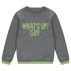 Junior - Pull en tricot gris chiné avec message printé devant