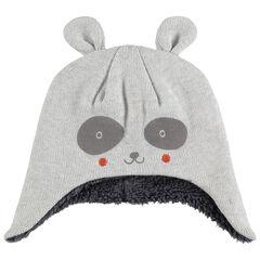 Bonnet péruvien forme panda doublé sherpa avec oreilles en relief