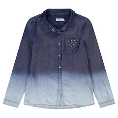 Junior - Chemise en Tencel effet tie and dye avec poche cloutée