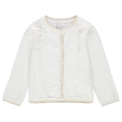 Gilet en tricot écru avec petites touches de doré