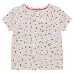 Tee-shirt manches courtes en jersey avec fleurs imprimées