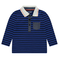 Polo manches longues rayé all-over avec détails chambray