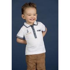 Polo manches courtes en piqué de coton avec rayures contrastées et poche