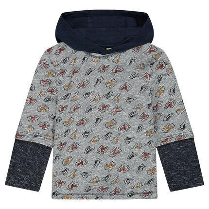 Tee-shirt manches longues effet 2 en 1 à capuche
