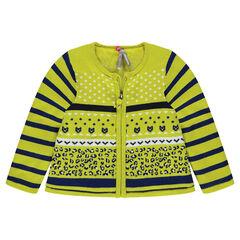 Gilet ne tricot zippé avec doublure sherpa et motifs jacquard