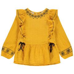 Tunique manches longues jaune en gaze de coton pour enfant fille , Orchestra