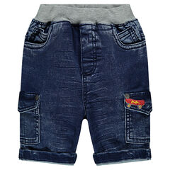 Bermuda en jeans effet used avec poches