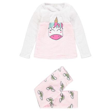 Pyjama en sherpa avec licorne brodée et arcs-en-ciel