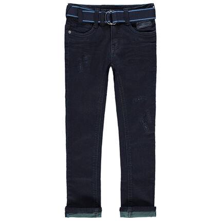 Jean effet used et crinkle avec envers teinté et ceinture amovible