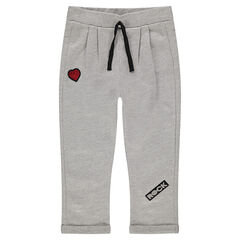Pantalon de jogging en molleton fantaisie avec coeur en sequins et print