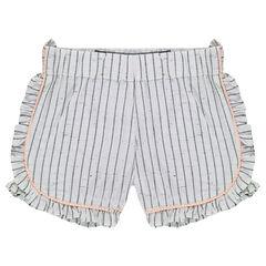 Short en coton neps avec rayures inversées et volants